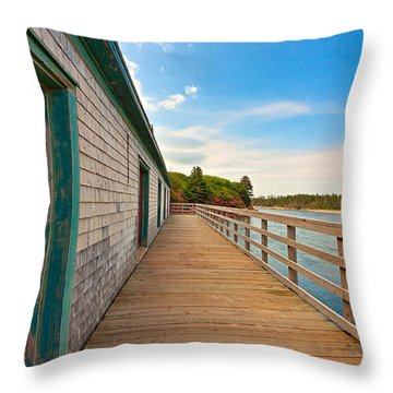 Pei Beach Boardwalk Throw Pillow by Nicolas Raymond