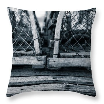 Throw Pillow featuring the photograph Pei Loberster Traps by Chris Bordeleau
