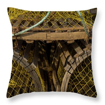 Throw Pillow featuring the photograph Pei Loberster Traps With Yellow Netting by Chris Bordeleau