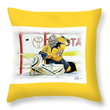 Throw Pillow featuring the photograph Pekka Rinne by Don Olea