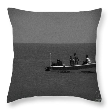 Pelican And The Fishing Boat Throw Pillow