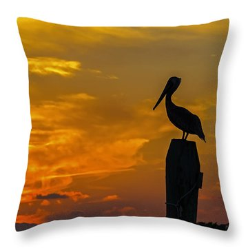 Pelican At Silver Lake Sunset Ocracoke Island Throw Pillow by Greg Reed