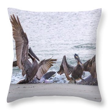 Pelican Brunch Throw Pillow by Patricia Schaefer