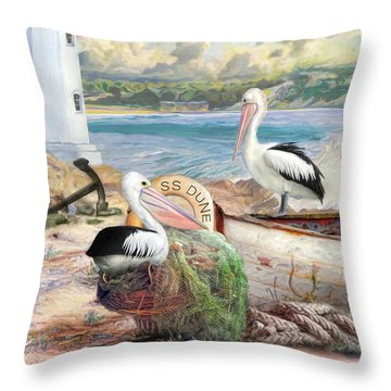 Throw Pillow featuring the digital art  Pelican Cove by Trudi Simmonds