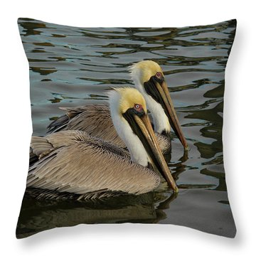 Throw Pillow featuring the photograph Pelican Duo by Jean Noren