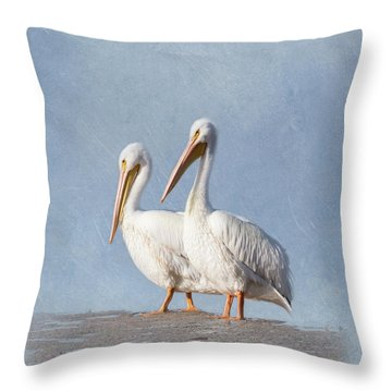 Throw Pillow featuring the photograph Pelican Duo by Kim Hojnacki