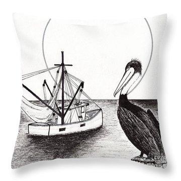 Pelican Fishing Paradise C1 Throw Pillow