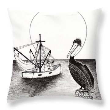 Pelican Fishing Paradise C1 Throw Pillow