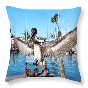 Pelican Flying In Throw Pillow