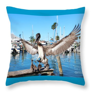Pelican Flying In Throw Pillow by Megan Dirsa-DuBois