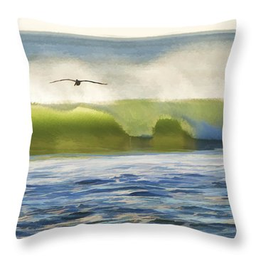 Pelican Flying Over Wind Wave Throw Pillow