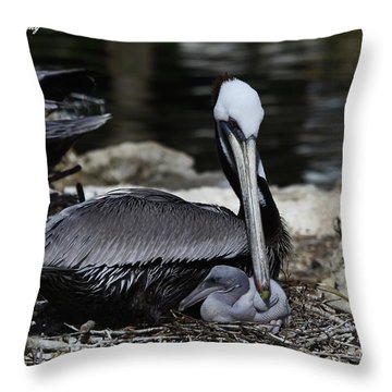 Pelican Hug Throw Pillow