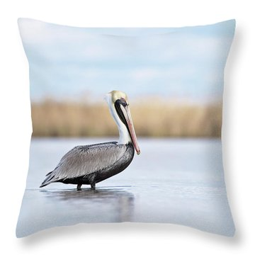 Pelican In Paradise Throw Pillow