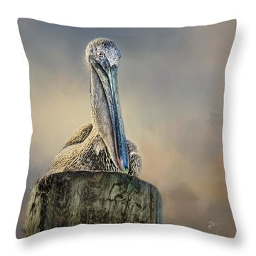 Pelican In Paradise Squared Throw Pillow
