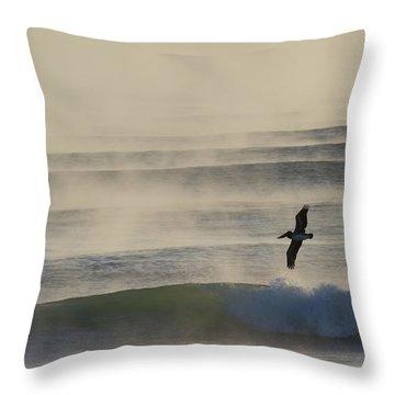 Pelican In Sea Smoke Throw Pillow