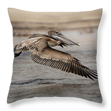 Pelican In The Air Throw Pillow