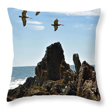 Pelican Inspiration Throw Pillow by Gwyn Newcombe