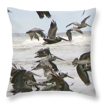Pelican Migration  Throw Pillow by Pamela Patch