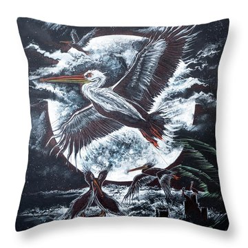 Pelican Moon Throw Pillow