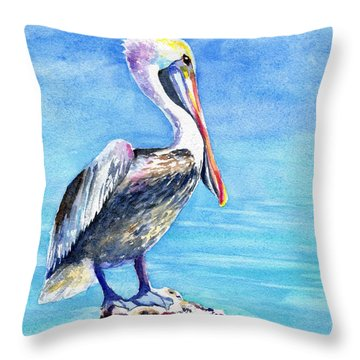 Pelican On A Post  Throw Pillow
