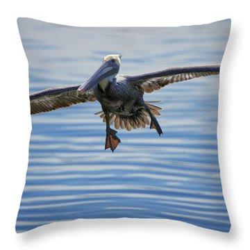 Pelican On Approach Throw Pillow