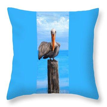 Pelican On Pier Throw Pillow