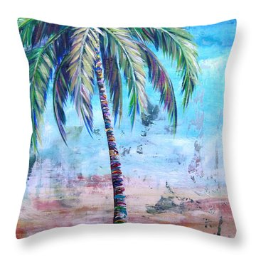 Pelican Palm I Throw Pillow by Kristen Abrahamson