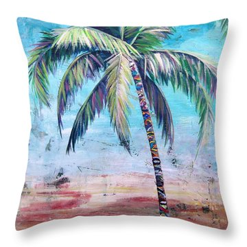 Pelican Palm II Throw Pillow by Kristen Abrahamson