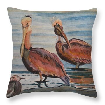 Throw Pillow featuring the painting Pelican Party by Karen Ilari