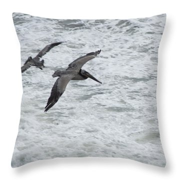 Throw Pillow featuring the photograph Pelican Patrol by Daniel Hebard