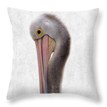 Pelican Portrait 001 Throw Pillow