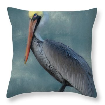 Throw Pillow featuring the photograph Pelican Portrait by Benanne Stiens