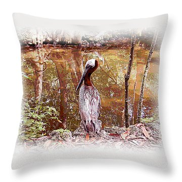 Pelican Posed Throw Pillow