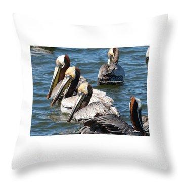 Pelican Profiles Throw Pillow