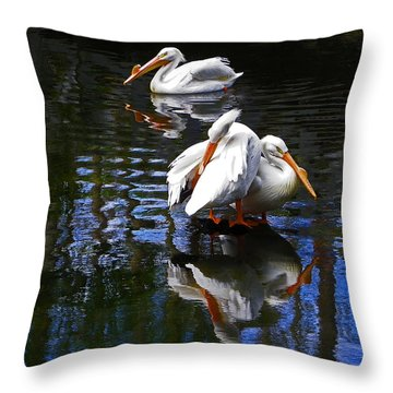 Pelican Reflections Throw Pillow by Judy Wanamaker