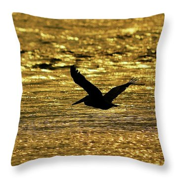 Pelican Silhouette - Golden Gulf Throw Pillow by Al Powell Photography USA