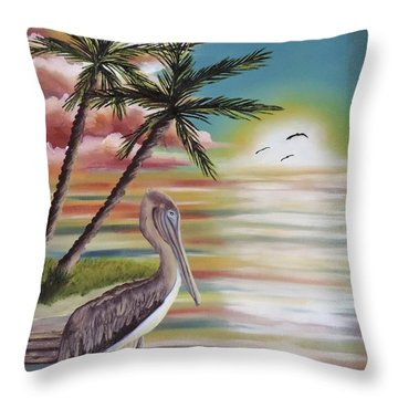 Pelican Sunset Throw Pillow