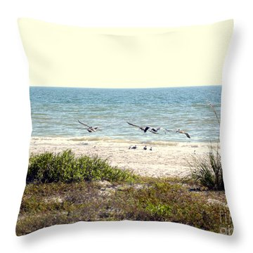 Throw Pillow featuring the photograph Pelican Take-off by Terri Mills