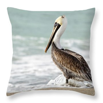 Pelican Waves Throw Pillow