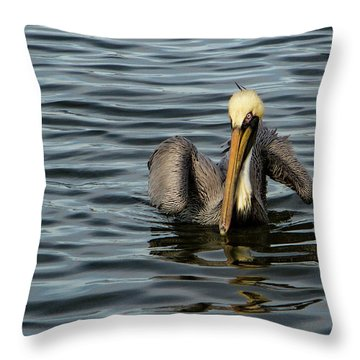 Throw Pillow featuring the photograph Pelican Wing In A  Twist by Jean Noren