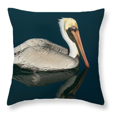 Throw Pillow featuring the photograph Pelican With Reflection by Bradford Martin