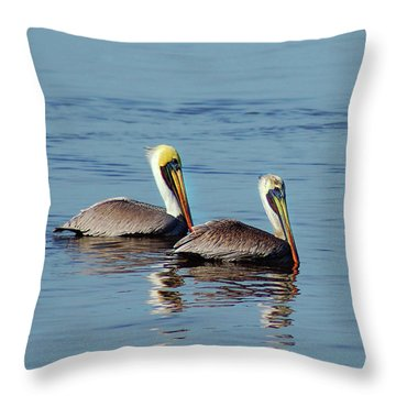 Pelicans 2 Together Throw Pillow
