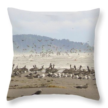 Pelicans And Gulls Throw Pillow by Pamela Patch