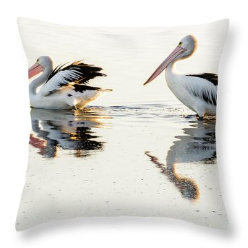 Pelicans At Dusk Throw Pillow by Werner Padarin