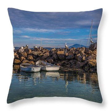 Pelicans At Eden Wharf Throw Pillow