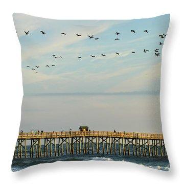 Pelicans At Flagler Beach Throw Pillow
