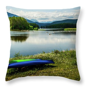 Pelicans At Shadow Mountain Lake Throw Pillow