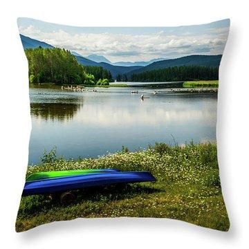 Pelicans At Shadow Mountain Lake Throw Pillow