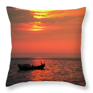 Pelicans At Sunset Throw Pillow