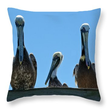 Pelicans At The Kure Beach Fishing Pier 2006 Throw Pillow